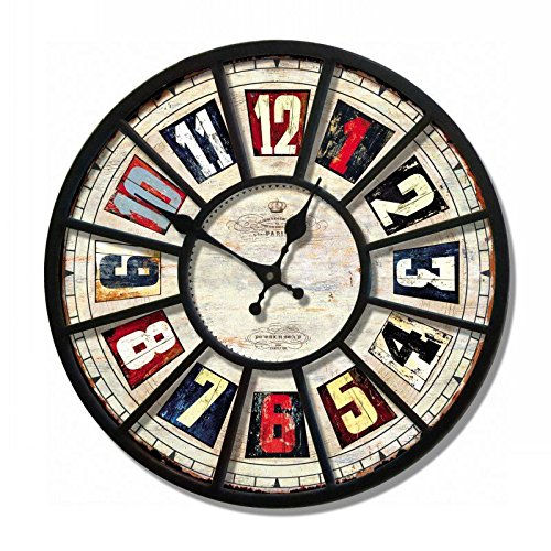 Amazon.com: Creative fashion watches mute the continental retro iron wall charts drawing room wall clock,F: Home & Kitchen