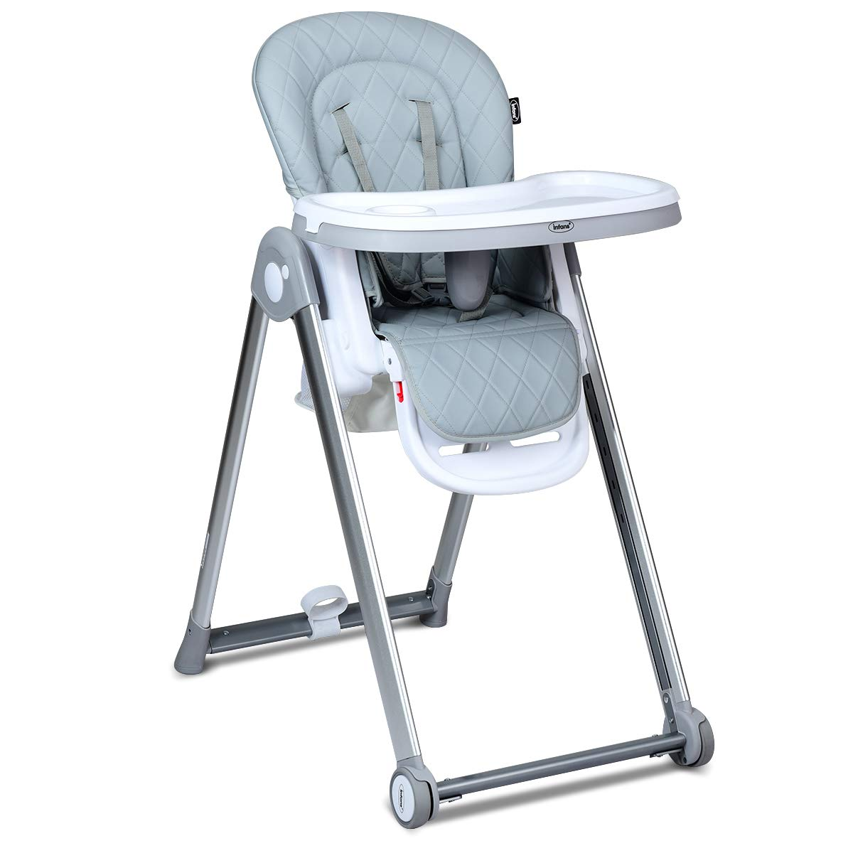 INFANS Folding High Chair for Babies &Toddlers, Space Saving with Multiple Adjustable Backrest, Footrest and Seat Height, Front Wheels, Removable Trays, Detachable Cushion, Storage Basket (Grey) by INFANS