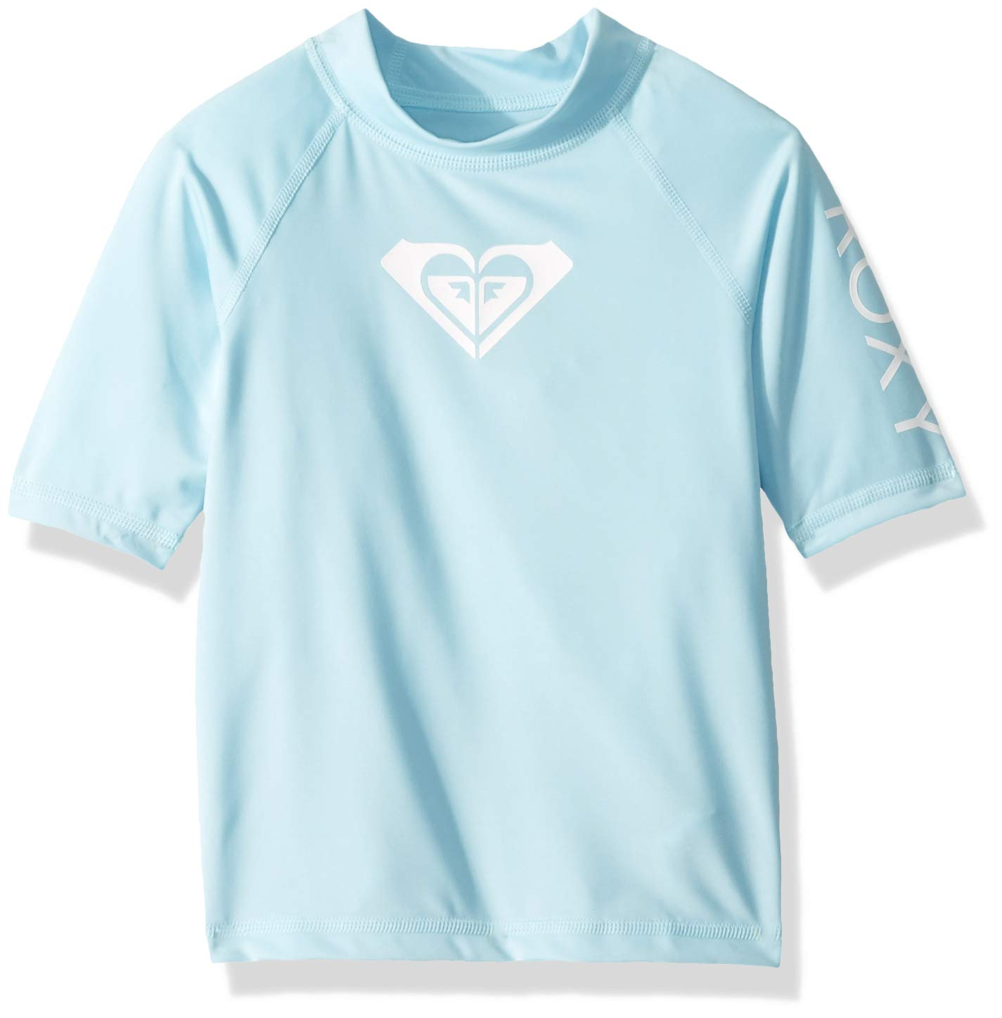 Roxy Toddler Girls' Whole Hearted Short Sleeve Rashguard, Crystal Blue, 2