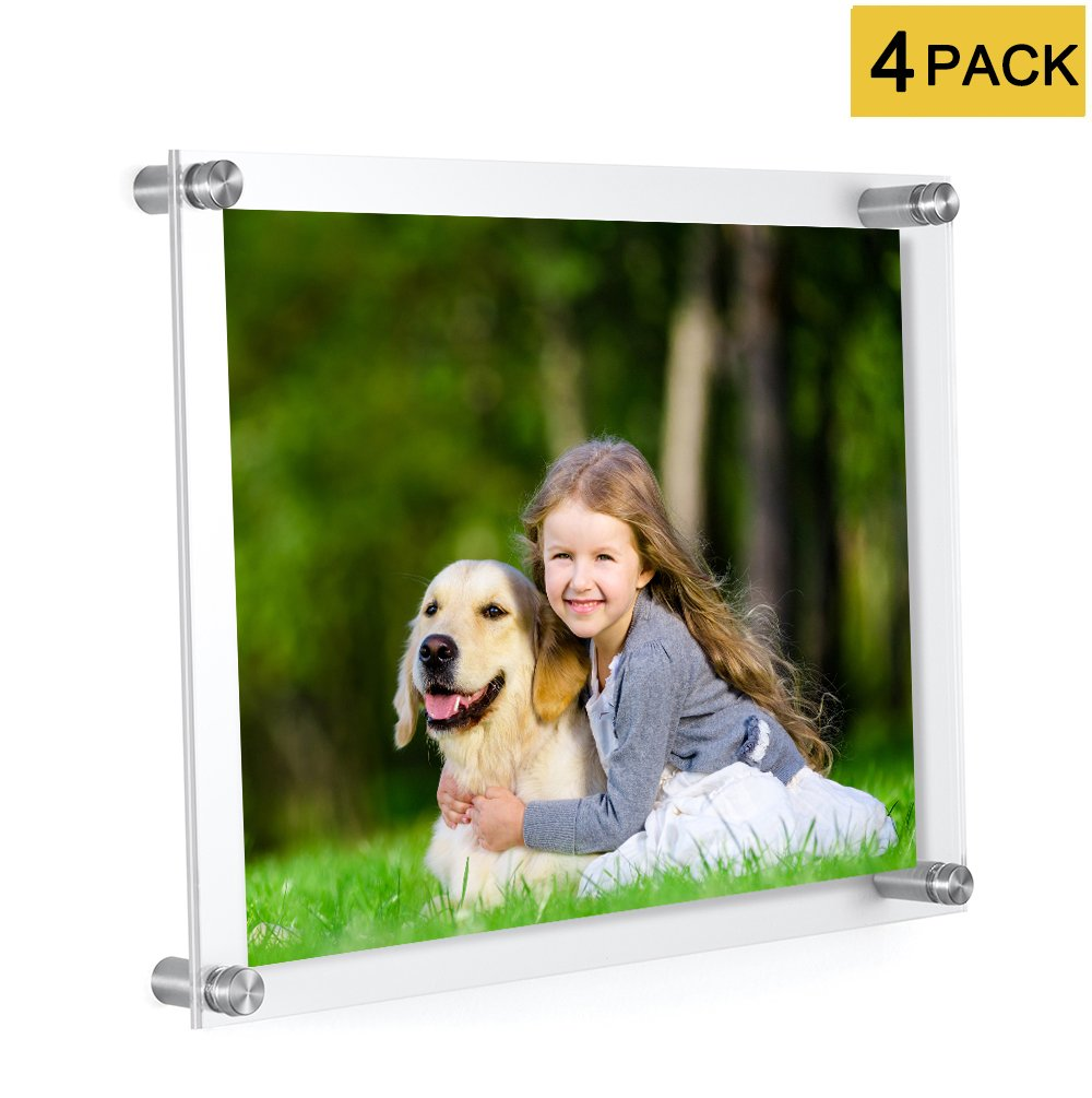 MeetU 8.5 x 11 Acrylic Picture Frames (4 Pack) -Inner 8x10 Wall Mount Photo Frame Frameless Clear Floating Frame for Document Certificate Artwork by MeetU