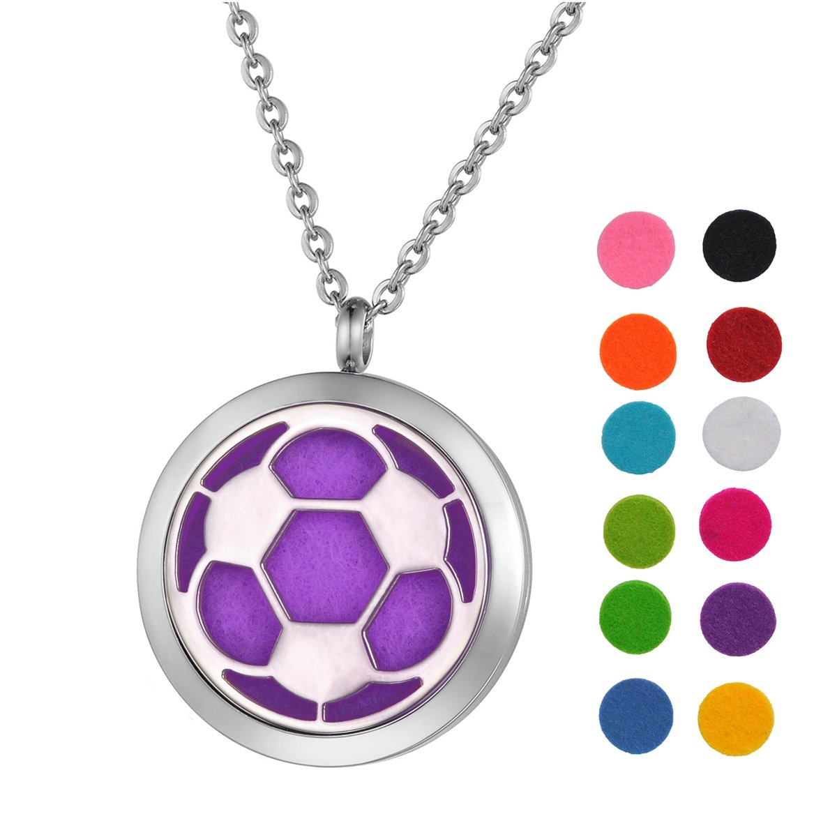 Aromatherapy Essential Oil Diffuser Necklace Basketball Locket Pendant with 24 Chain 12 Refill Pads Silver Tone Supreme glory SGto-B264601