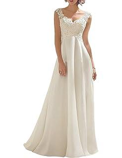 2d49e66c548d Kevins Bridal Lace V Neck Wedding Dress Illusion Chiffon Beach ...