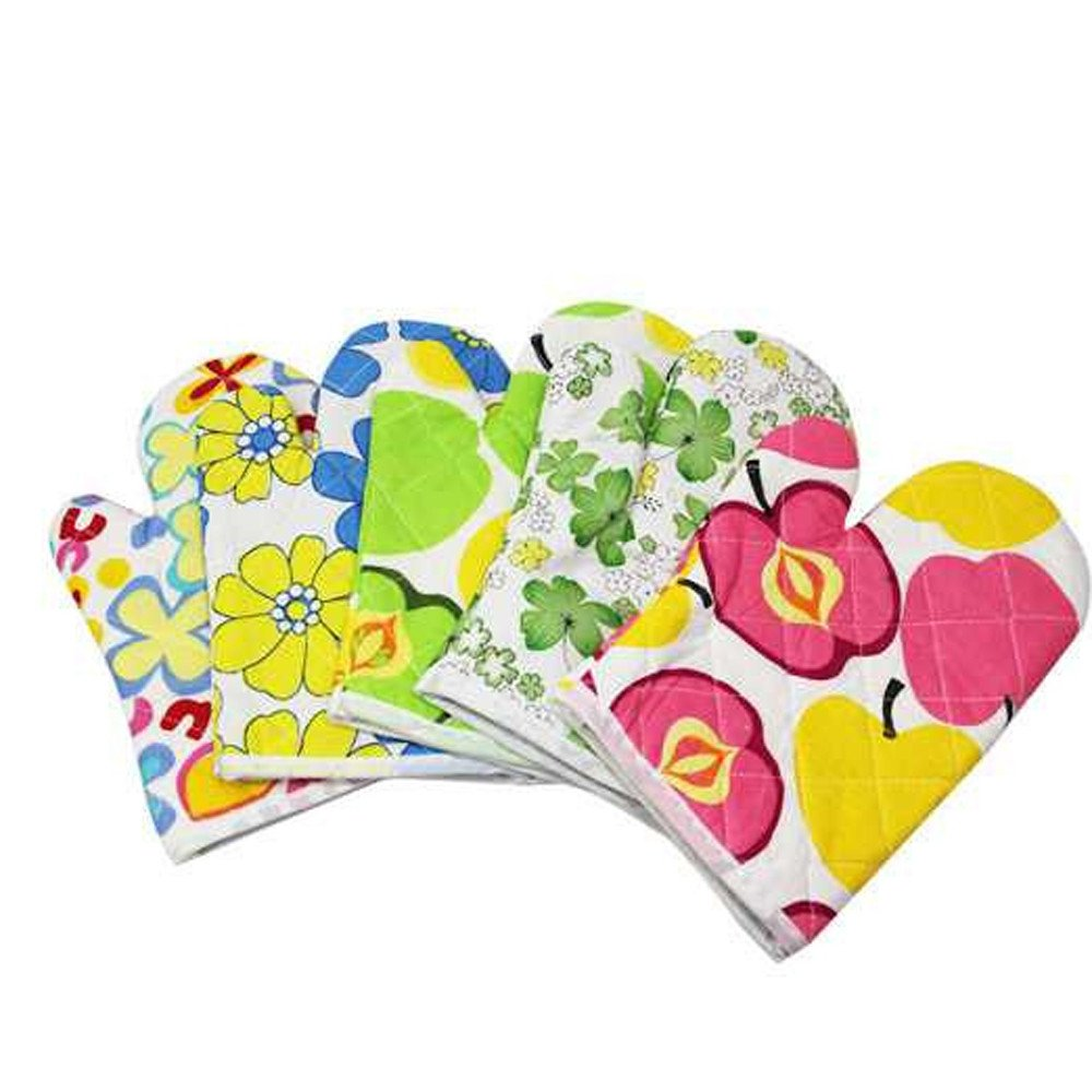 ️ Yu2d ❤️❤️ ️Cooking Cotton Microwave Oven Gloves Mitts Pot Pad Heat Proof Protected