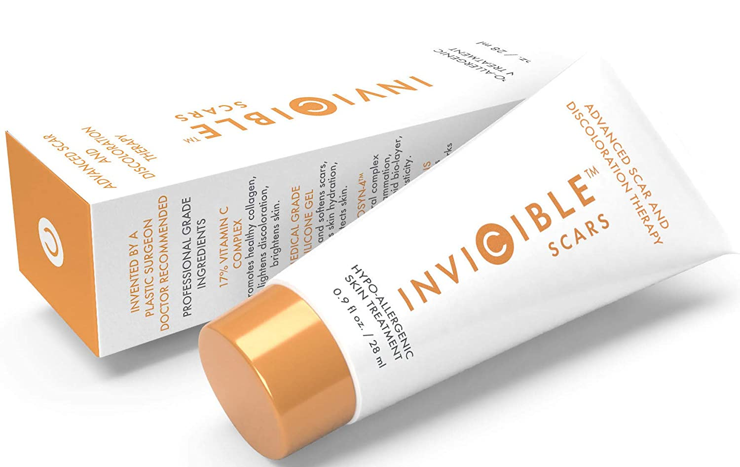 InviCible Scars Advanced Skin Treatment & Medicated Primer 17% Vitamin C Moisturizes & Improves Skin Imperfections Matte Finish Base For Makeup. 9 Fl Oz, Created By A Plastic Surgeon, Made In America