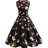 2021 Vestidos Largo para Mujer Navidad, 1950 Hepburn Vestidos Coctel Corto Vintage Cuello redondo Vestidos sin Manga…