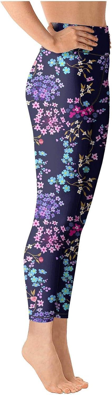 chchht Womens Soft Yoga Pants Small Flower Pattern High Waisted Capris Riding Leggings