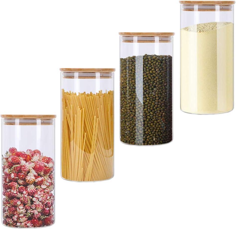 GoMaihe Tarro de Vidrio de Almacenamiento 4Pcs, Tarros de Cristal para Conservas Envases Cristal Alimentos, Tarro de Granos de Café Recipiente Hermetico Tarros de Cristal con Tapa, 1.2L