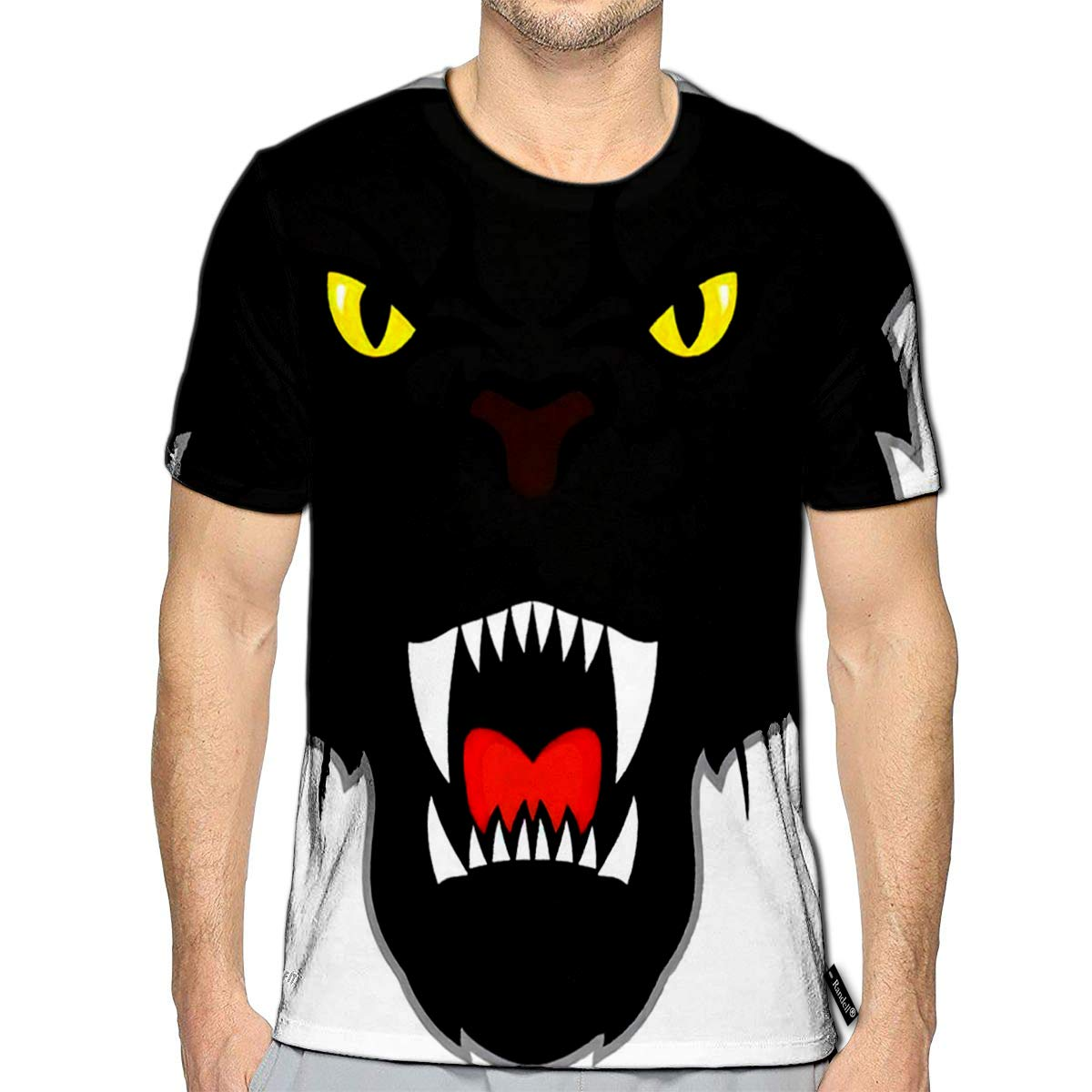 3D Printed T-Shirts Black Panther Head Short Sleeve Tops Tees