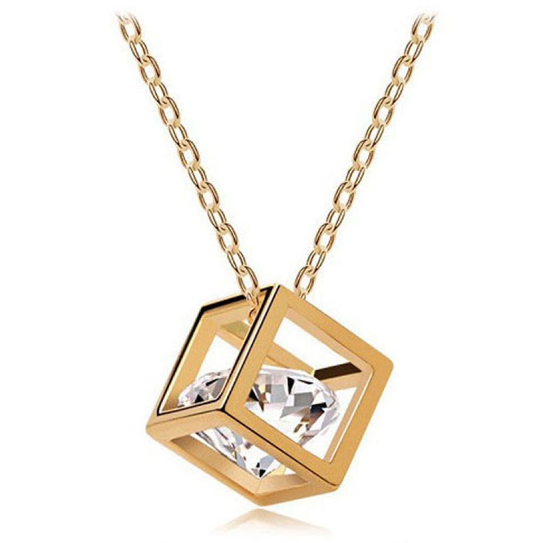 Datework Women Chain Crystal Rhinestone Square Pendant Alloy Necklace Jewelry Datework necklace Datework-A19