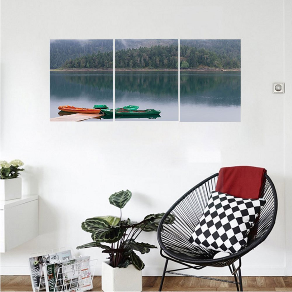 Liguo88 Custom canvas Lake House Decor Collection Forest and Lake Landscape with Canoes by the Pier in European Countryside Fall Photo Bedroom Living Room Wall Hanging Green Brown by Liguo88 (Image #1)