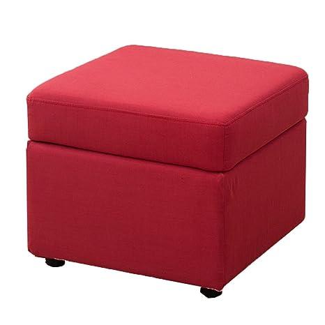 Amazon.com: RKY Solid Wood Cloth Red/Lattice Storage Stool ...