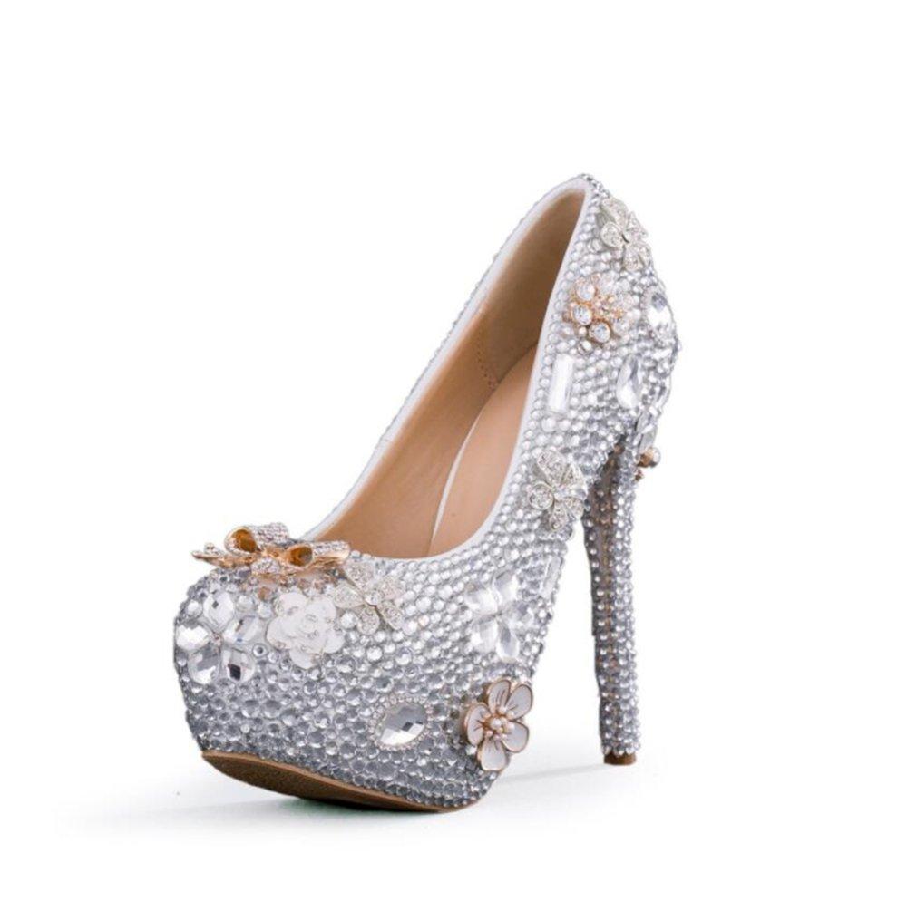Los Tacones De Aguja De Las Mujeres De LINYI Hechos A Mano De Cristal Zapatos De La Plataforma Impermeable De La Boda Cabeza Redonda De Gran Tamaño 40 EU|11cm