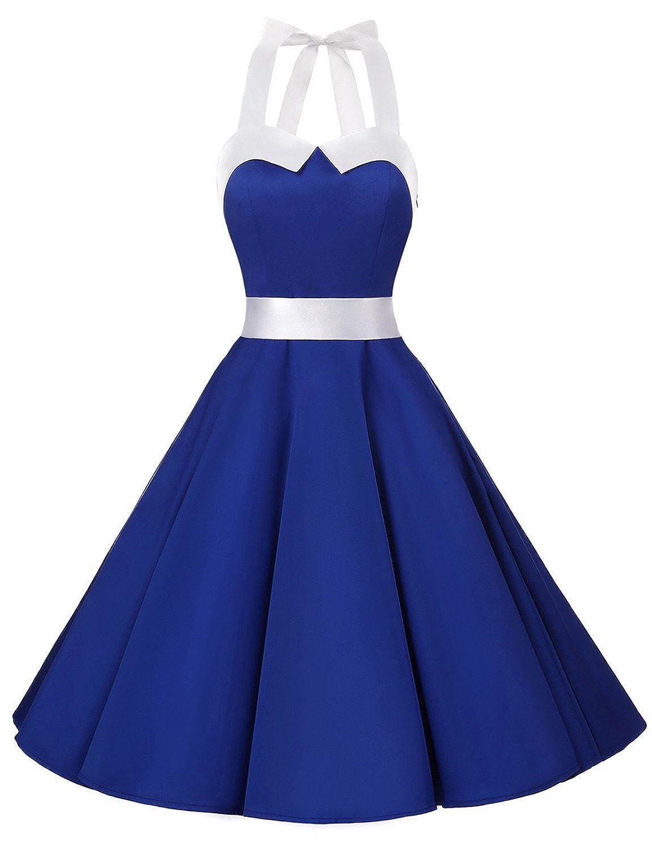 TALLA L. Dressystar Vestidos Corto Cuello Halter Estampado Flores y Lunares Vintage Retro Fiesta 50s 60s Rockabilly Mujer Solid Royal Blue