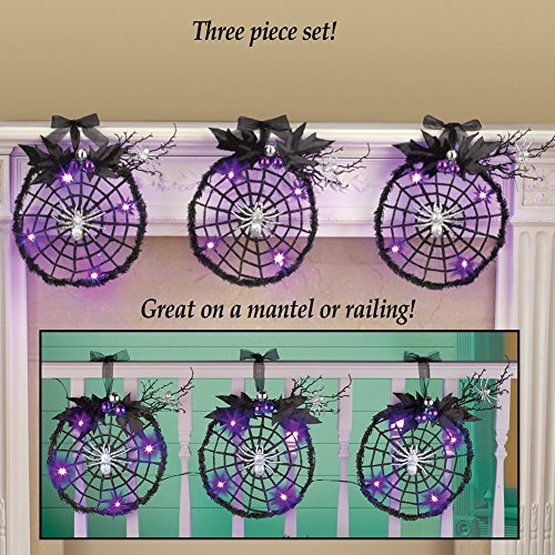 Spooky Purple Lights Spiderweb Wreath Halloween Haunted House Prop Indoor Outdoor Mantle Fence Rail Decor (Set of 3) (Gory Halloween Dishes)