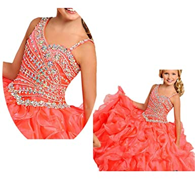 Sanling Pageant Dresses Puffy Prom Party Dress For Little Kids Gown2017 - Orange -