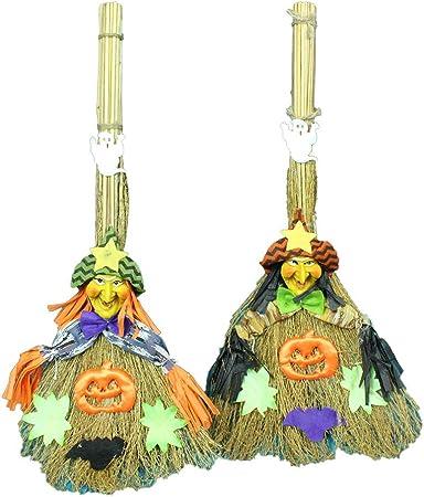 DDG EDMMS 1pc Escoba de Bruja de Halloween decoración de la Paja de la joyería Escoba Banquete Barra Sala de decoración decoración de Restaurante distribución decoración de Halloween