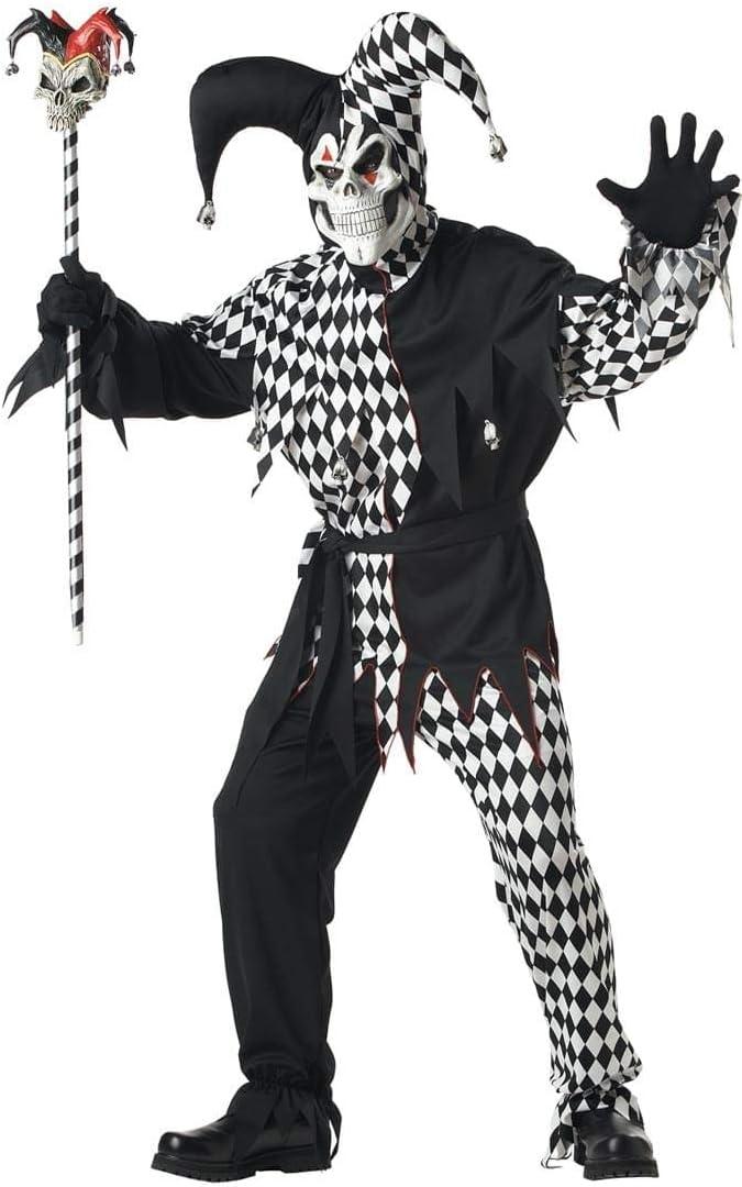 Mens Sinister Clown Costume Trousers Mask Black White Halloween Fancy Dress