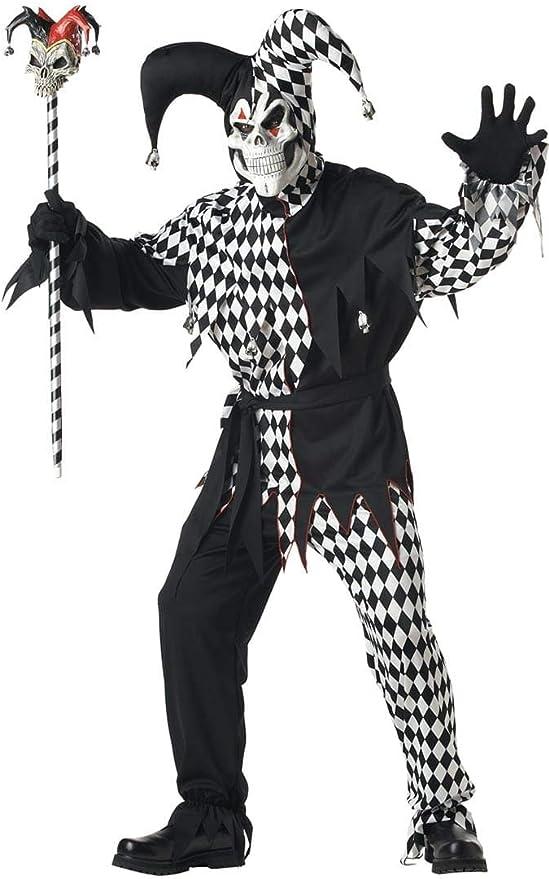 Mens Evil Jester Halloween Fancy Dress Costume + Mask Clown Joker ...