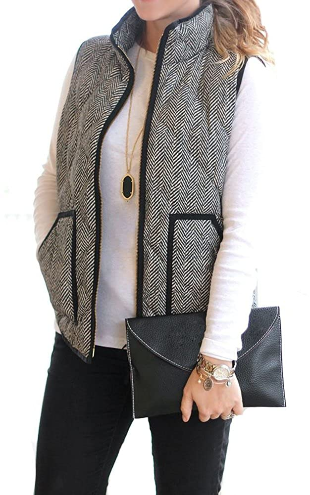 MEROKEETY Women's Slim Fall Quilted Herringbone Puffer Vest With Zipper