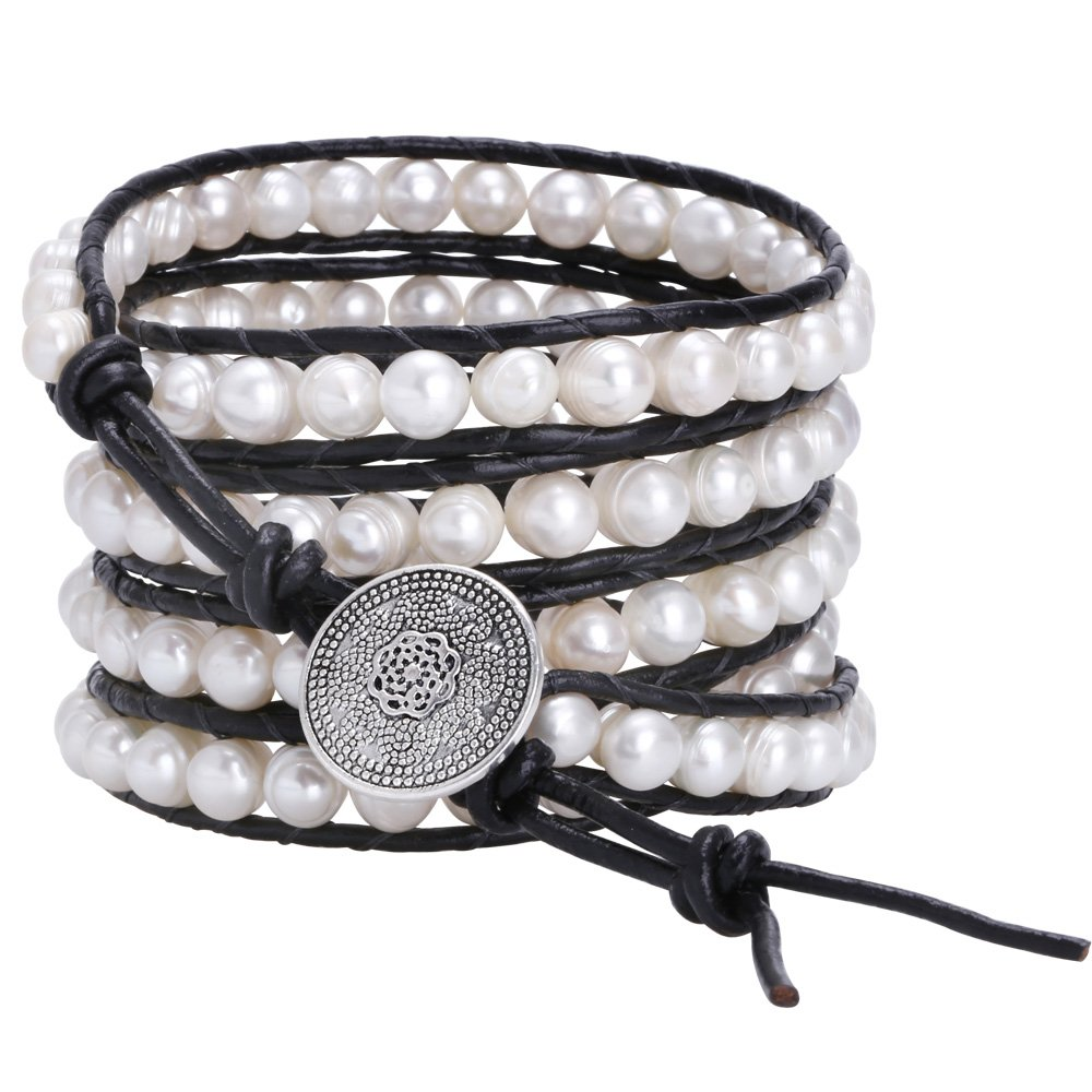 Aobei Long 5 Row Cultured Freshwater Pearls Wrap Around Bracelet Beaded Leather Jewelry by Aobei Pearl