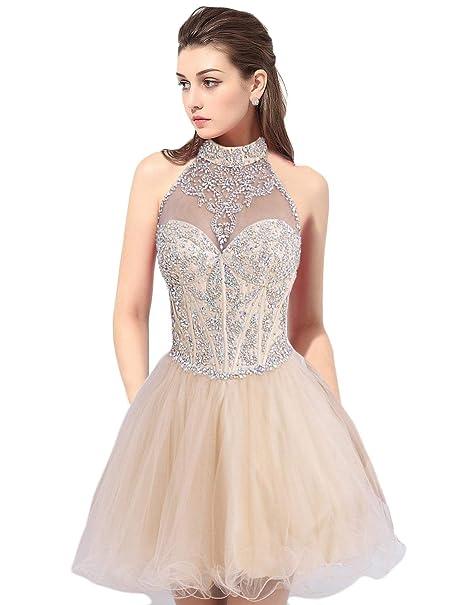 cd6044dc1f6 Amazon.com  OYISHA Women s Short Halter A-line Homecoming Dresses Beading  Prom Gown  Clothing