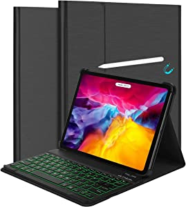 iPad Air 4th Generation Keyboard Case 10.9-inch 2020 - Detachable Slim 7 Color Backlit Keyboard Bluetooth - Leather Folio Smart Cover for iPad Pro 11 2020 & 2018, iPad Air 4 Gen
