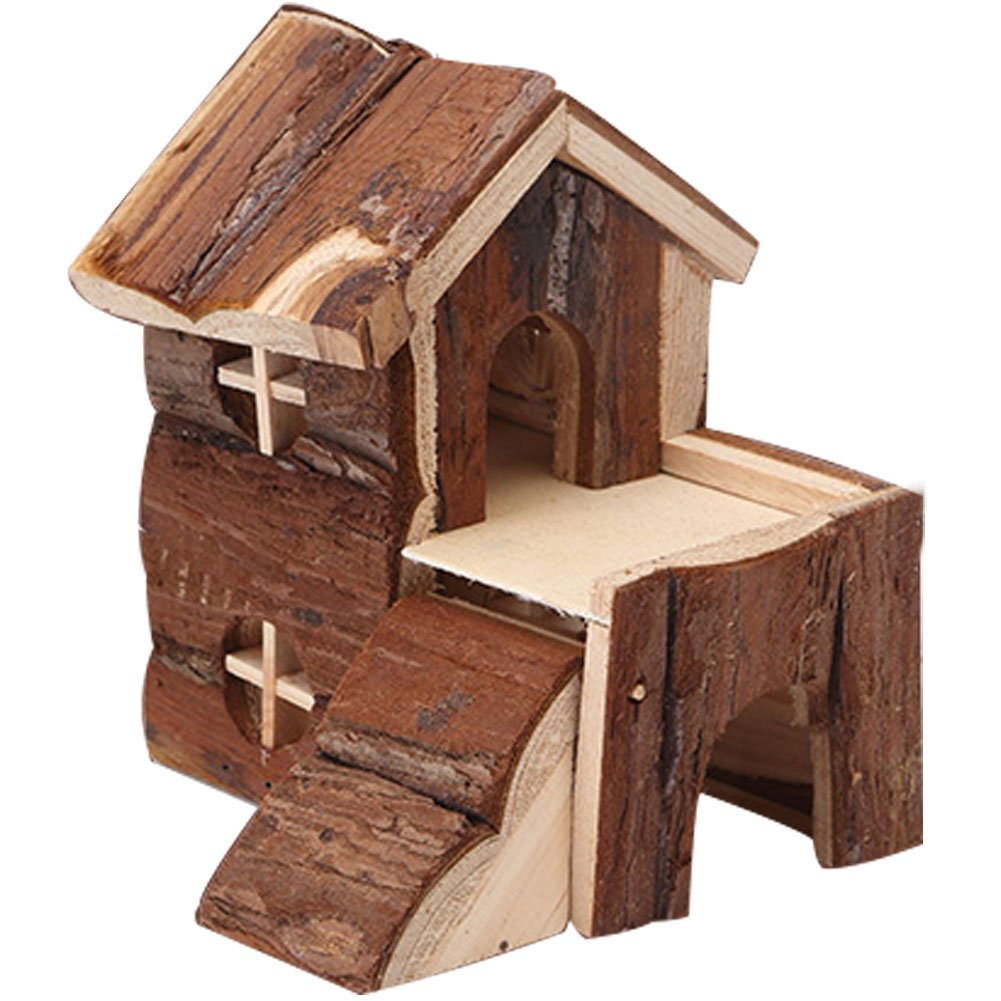 OMEM Wood House Hamster, Mill Tooth House. Easy to Clean, Suction Cup Bracket, Natural Life Tunnel System, Small Animal House