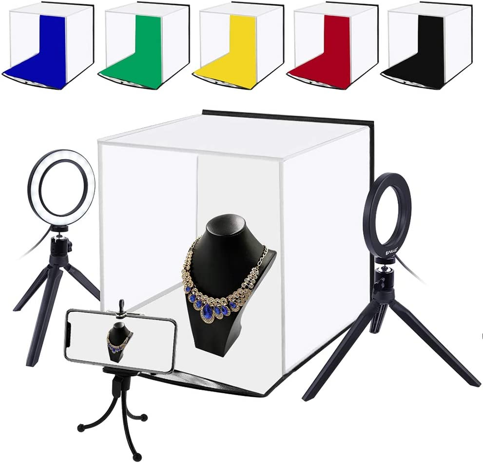 Galapara Portable Photo Studio Box LED Photo Lightbox 30 x 30cm USB Charging Fill Light Studio Softbox with 6 Color Backdrops /& Phone Holder for Tabletop Photography