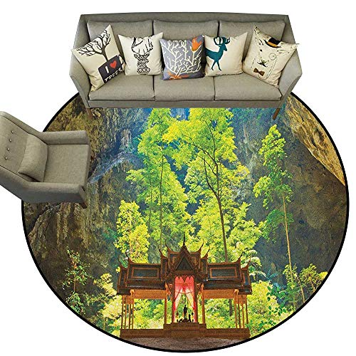 (Natural Cave,Indoor Outdoor Rugs Latent Pavilion in Between The Cliffs Discovery of Faith in The Nature Art Picture D60 Super Soft Carpet Floor Mat Home Decor )