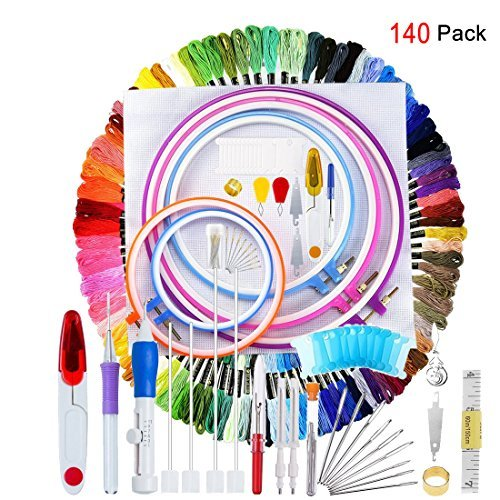 (140 Pieces Embroidery Cross Stitching Punch Needle Kit, Full Range of Embroidery Starter Kit Including Magic Embroidery Pen Punch Needle, 5 Embroidery Hoops, 2 Cross Stitch Cloth, 100 Threads)