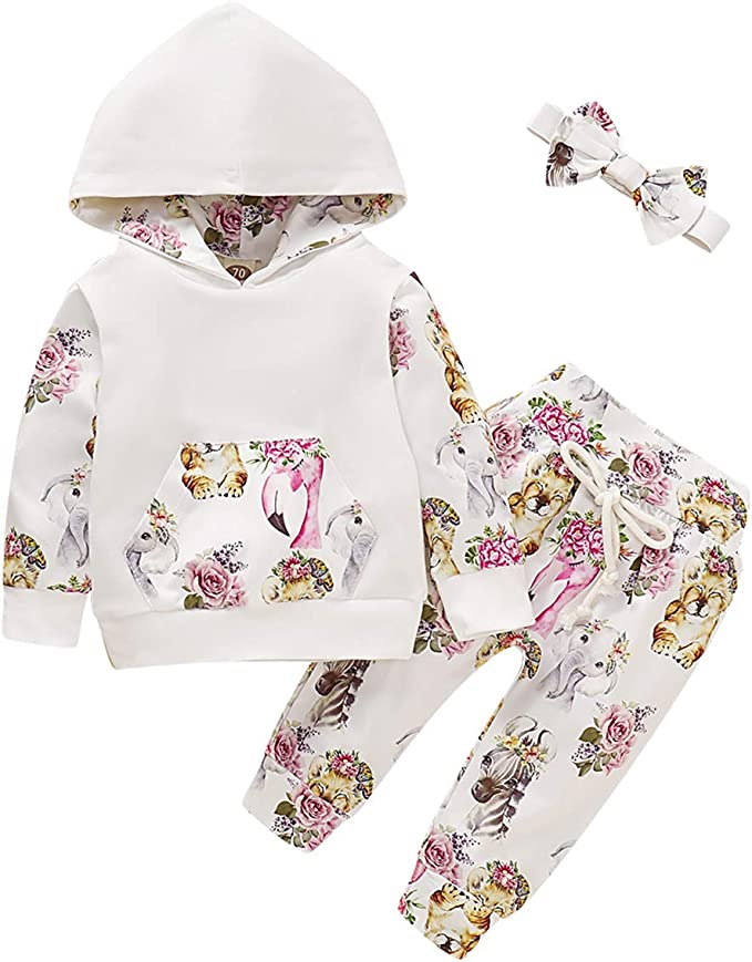 Pants Set Newborn Kids Toddler Outfits UK 2Pcs Baby Girls Floral Hooded Top