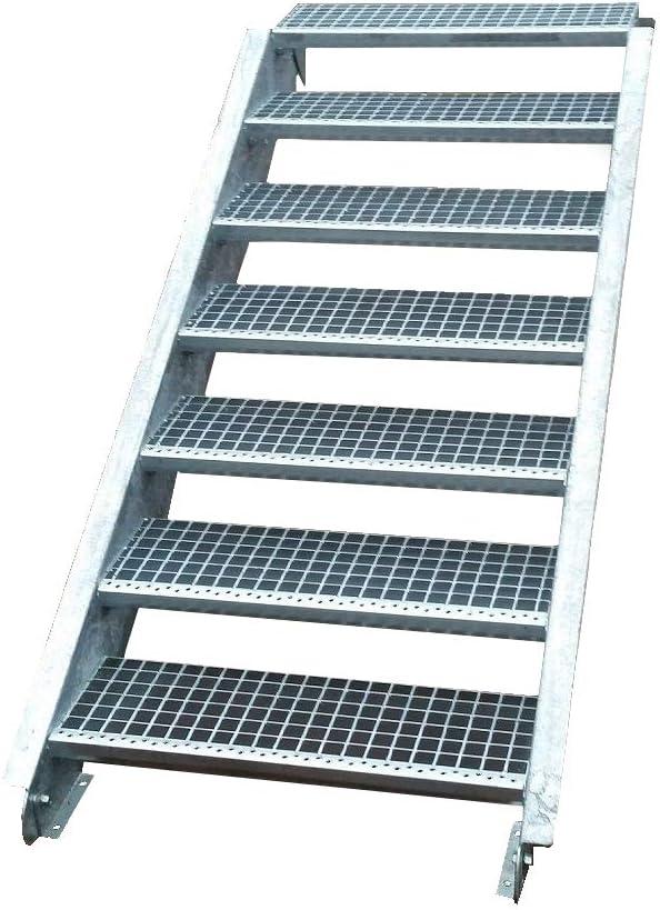 Escalera de acero industrial, escalera exterior, escalera de 7 peldaños, ancho 140 cm/altura de planta variable 100 – 140 cm, galvanizada, escalones de rejilla, profundidad 24 cm: Amazon.es: Bricolaje y herramientas
