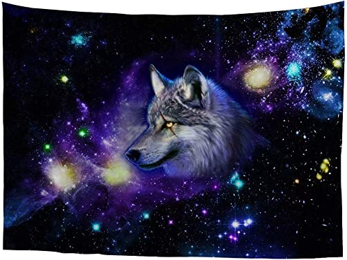 Dellukee Wolf Wall Hanging Tapestry Hippie Galaxy Night Sky Art Planet Cute Large Unique Tapestries for Bedroom Dorm Festival Restaurant Decoration 90x108Inches 230x275cm