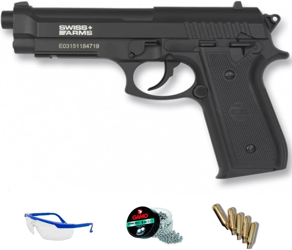 PACK pistola de aire comprimido Swiss Arms PT92 - Arma de CO2 y balines BBs (perdigones de acero) full metal <3,5J