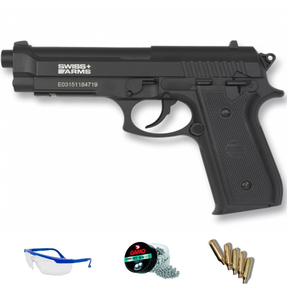 PACK pistola de aire comprimido Swiss Arms PT92 - Arma de CO2 y balines BBs (perdigones de acero) full metal 5J
