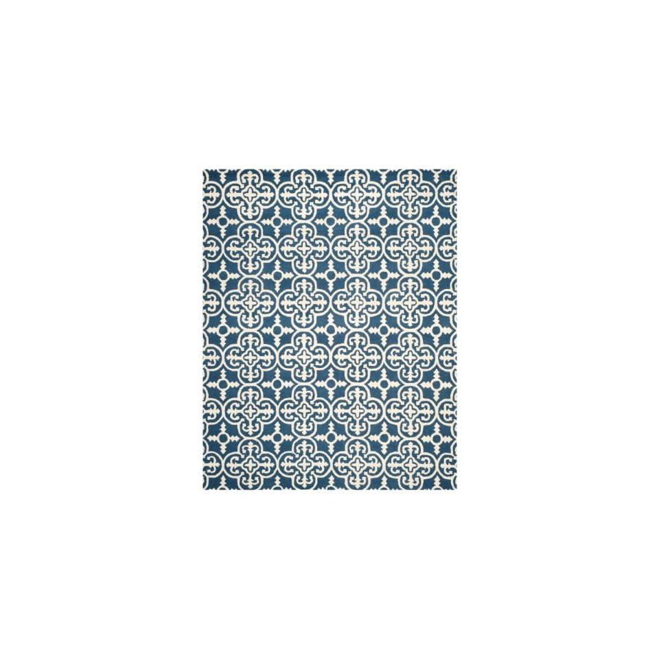 Safavieh Cambridge Collection CAM133G Handmade Moroccan Geometric Navy and Ivory Premium Wool Area Rug (5 x 8)