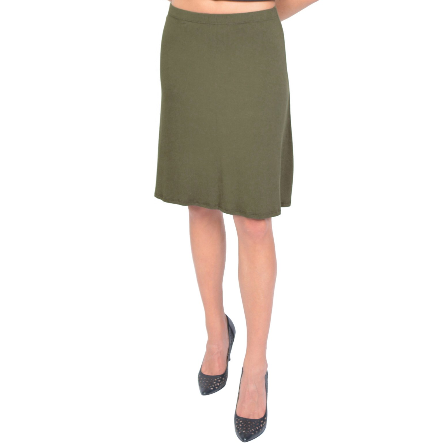 Stretch is Comfort Women's A-Line Skirt Olive Green Large