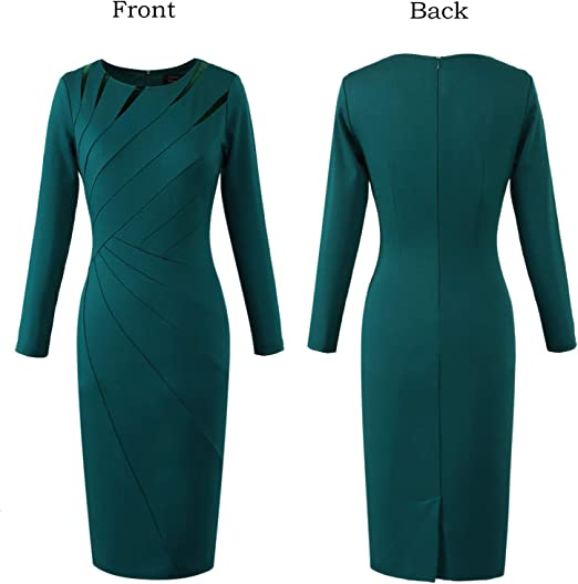 Women's Elegant Crew Neck Patchwork Work Sheath Dress