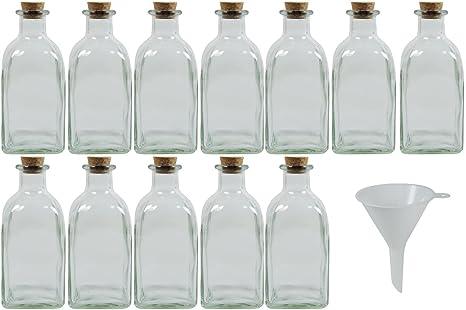 mikken 12 x Farmacia Botella Pequeñas de Cristal (250 ML, con corchos para Incluso
