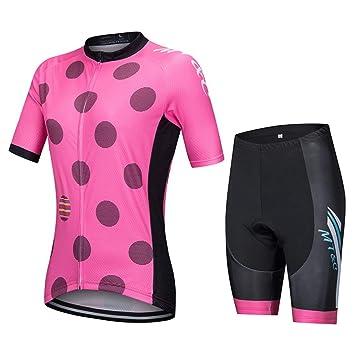Conjunto de Jersey de Ciclismo Mujer Rosa,Transpirable ...