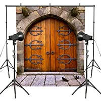 MUEEU 5x7ft Vintage Medieval Middle Age Stone Wall Photography Backdrops Arch Wooden Door Pigeons Kids Photo Backgrounds for Studio Props