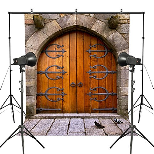 MUEEU 5x7ft Castle Door Medieval Backdrops Vintage Middle Age Stone Wall Photography Backgrounds Arch Wooden Door Pigeons Kid's Photoshoot for Studio Props