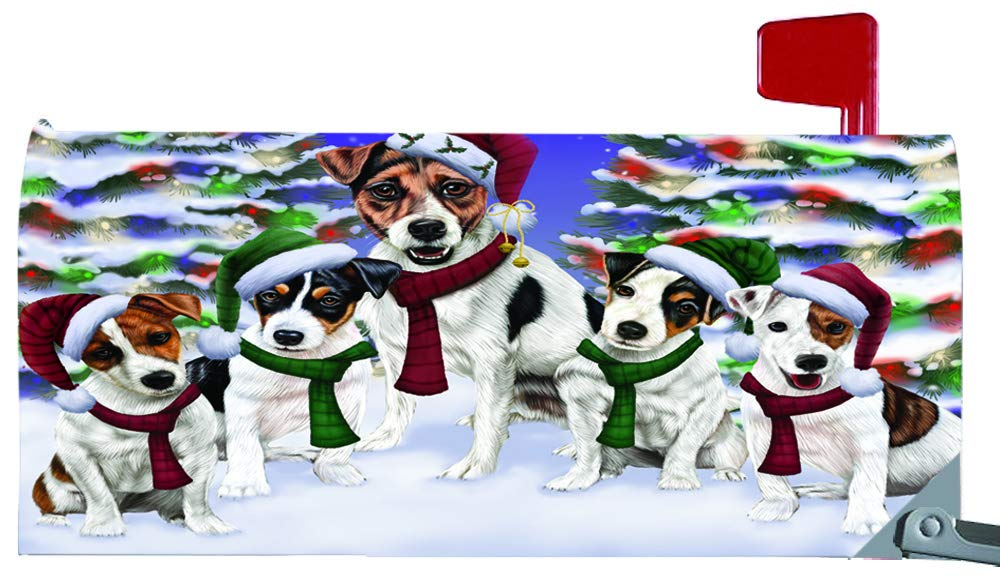 Magnetic Mailbox Cover Jack Russells Dog Christmas Family Portrait in Holiday Scenic Background MBC48232