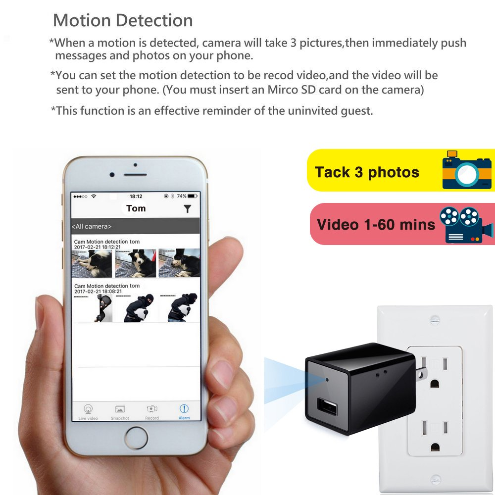 Amazon.com: Wifi Hidden Camera,ESROVER HD 1080P P2P Wireless Nanny ... for Mini Spy Camera For Iphone  153tgx