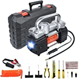 GSPSCN Portable Air Compressor Pump Dual Cylinder Heavy Duty Tire Inflator with LED Light,150 PSI 12V Air Pump with Tire Repair Kit and Toolbox for Auto,SUV,Truck Tires etc