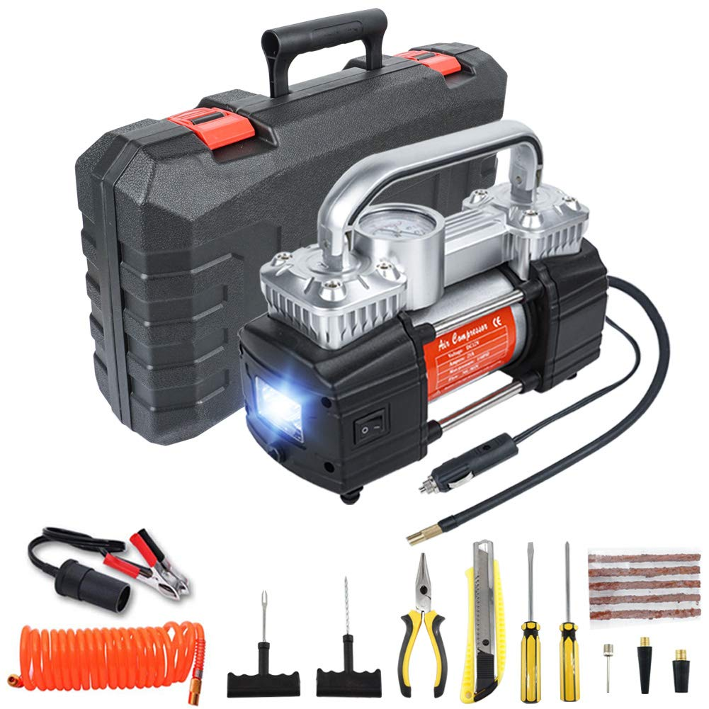 GSPSCN Portable Air Compressor Pump Dual Cylinder Heavy Duty Tire Inflator with LED Light,150 PSI 12V Electric Air Pump with Tire Repair Kit and Toolbox