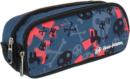 Grafoplás Surf Hans Tiessen - Estuche escolar con dos bolsillos y dos cremalleras, 24.5 x 9.5 x 8 cm: Amazon.es: Oficina y papelería