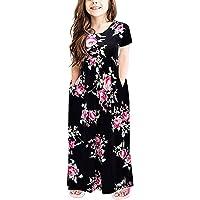 Yihaojia Girls Dress Infant Kids Long Dresses Girl Print Short Sleeve Casual Beachwear Clothes