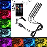 Car LED Strip Light, OXOQO 4pcs 48 LED Car Interior Light 8 Colors Music Underdash Lighting Kit with Sound Active Function &Wireless Remote Control