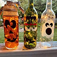 Halloween Wine Bottle Decorations with or without Twinkle Lights - Glow In The Dark Ghost, Pumpkin, Frankenstein